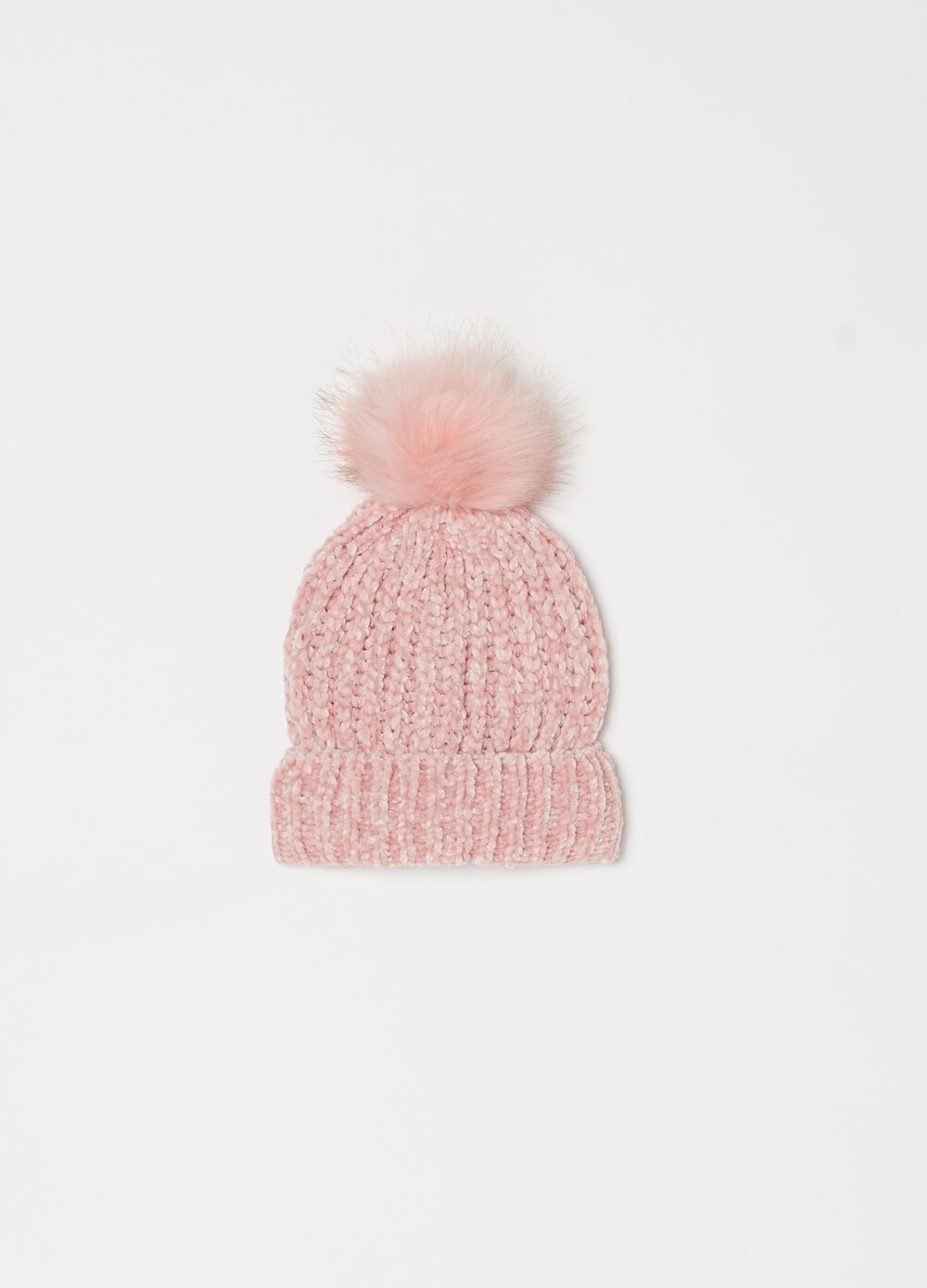Chenille hat with pompom