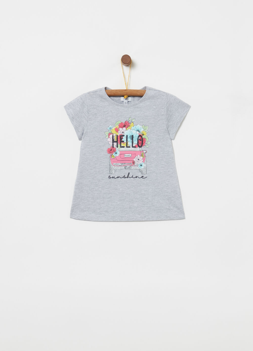 T-shirt with round neck and glitter print