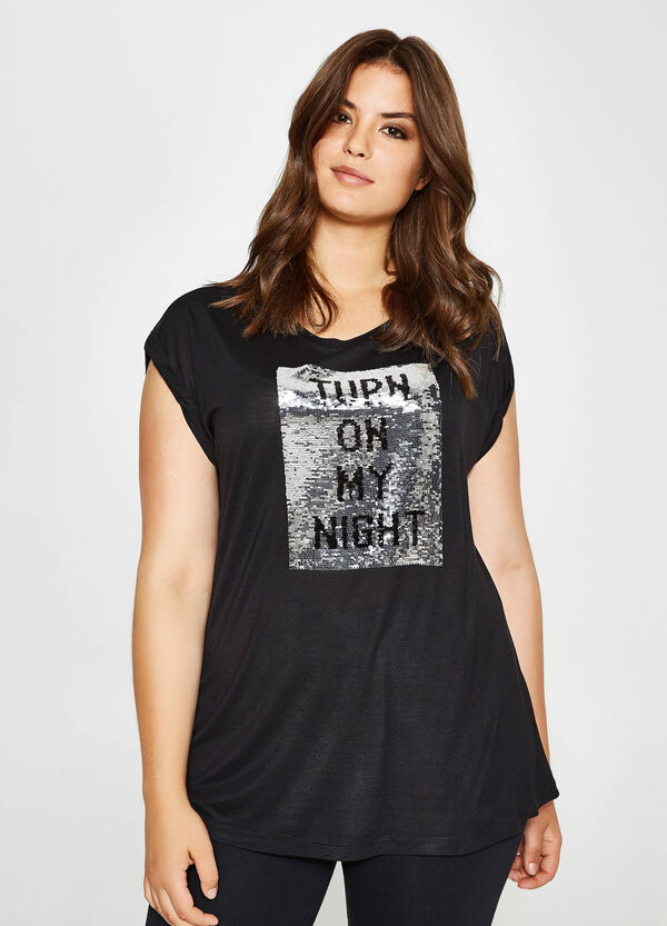 Curvy T-shirt in viscose with sequins   OVS