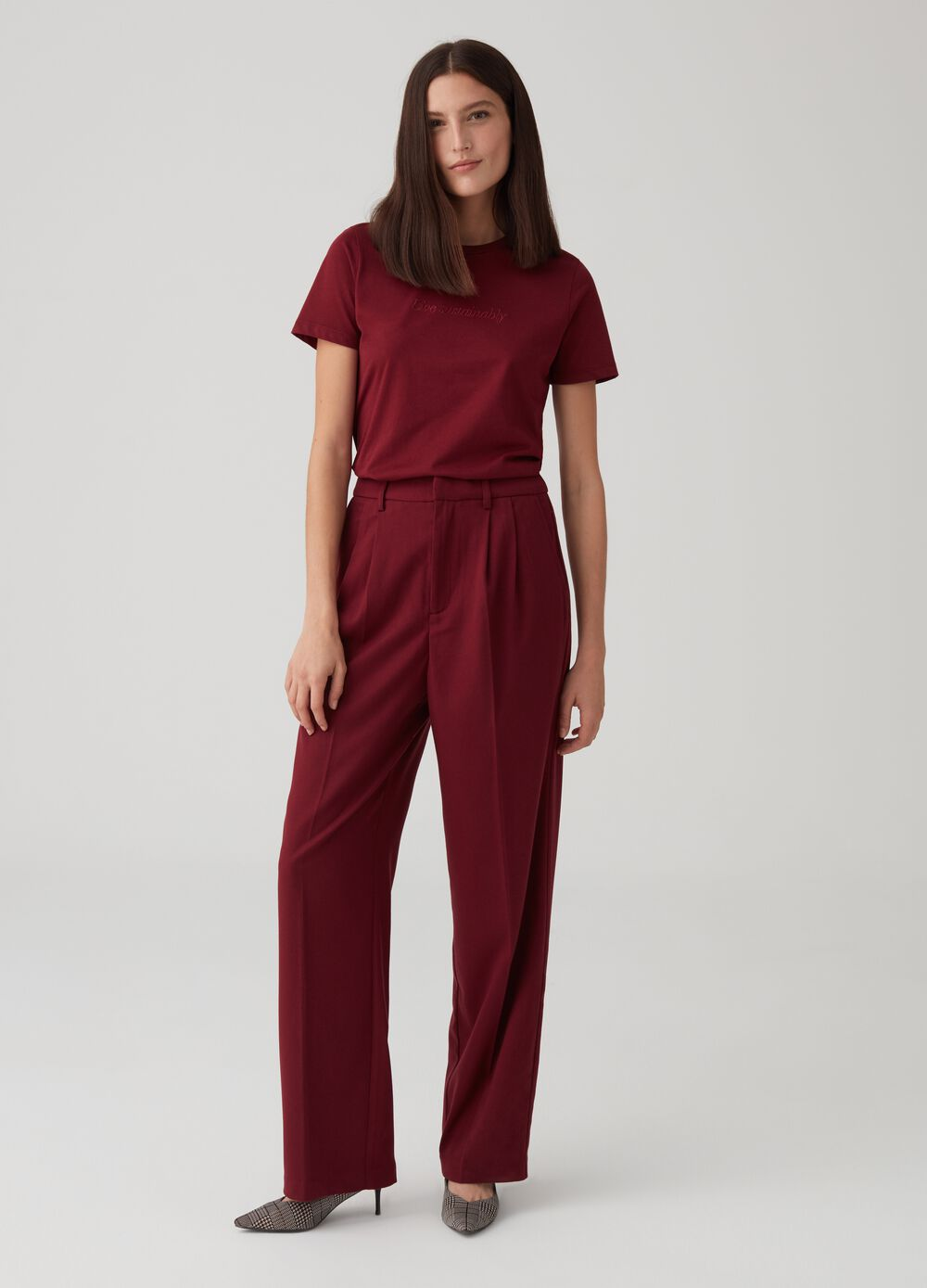 Solid colour high-waisted wide-leg trousers