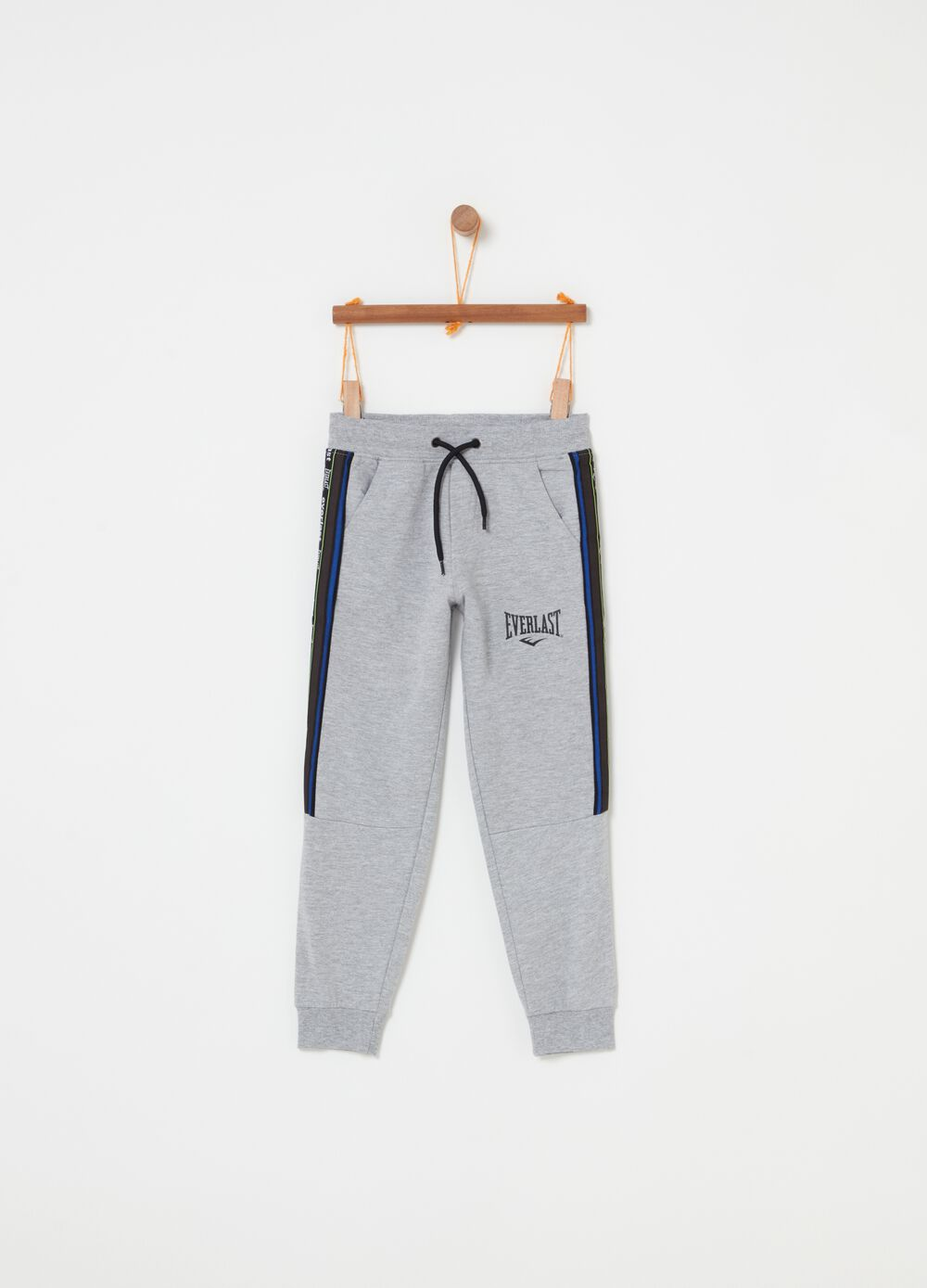 Mélange trousers with Everlast print