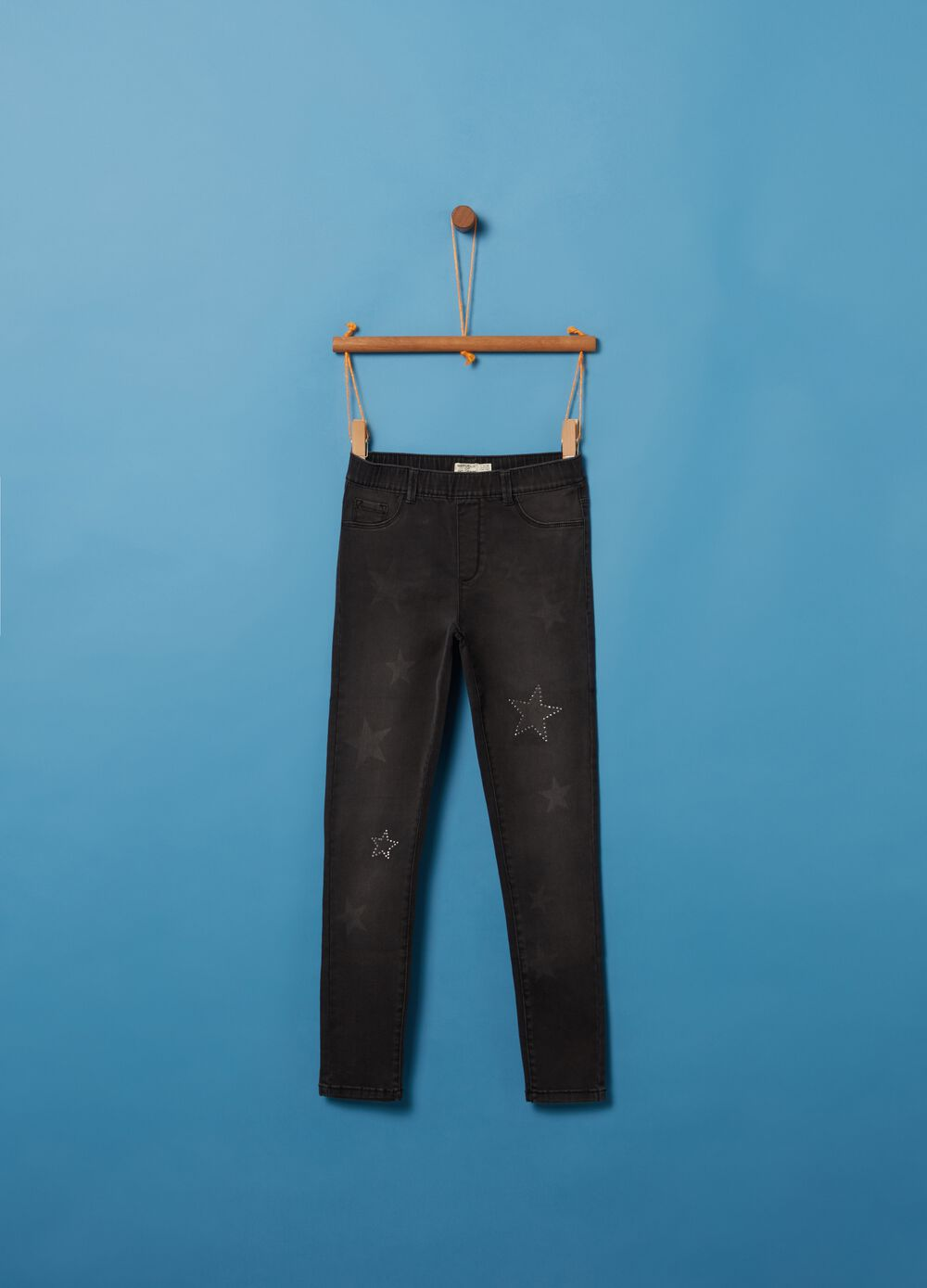 Stretch jeggings with studs and print