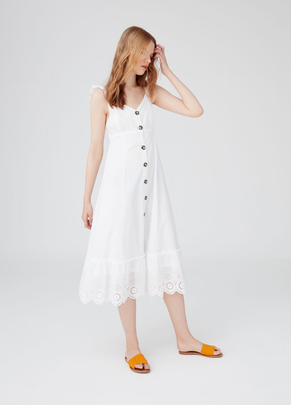 Long dress with spaghetti straps, ruches and lace