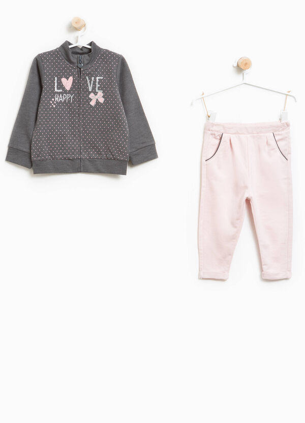 Tracksuit in 100% cotton with glitter print | OVS