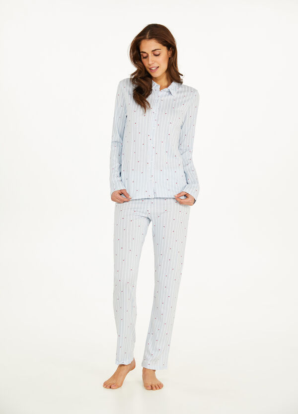 Cotton and modal patterned pyjamas