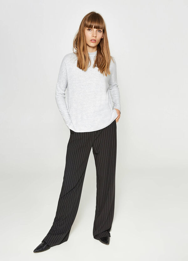 Stretch viscose T-shirt with long sleeves