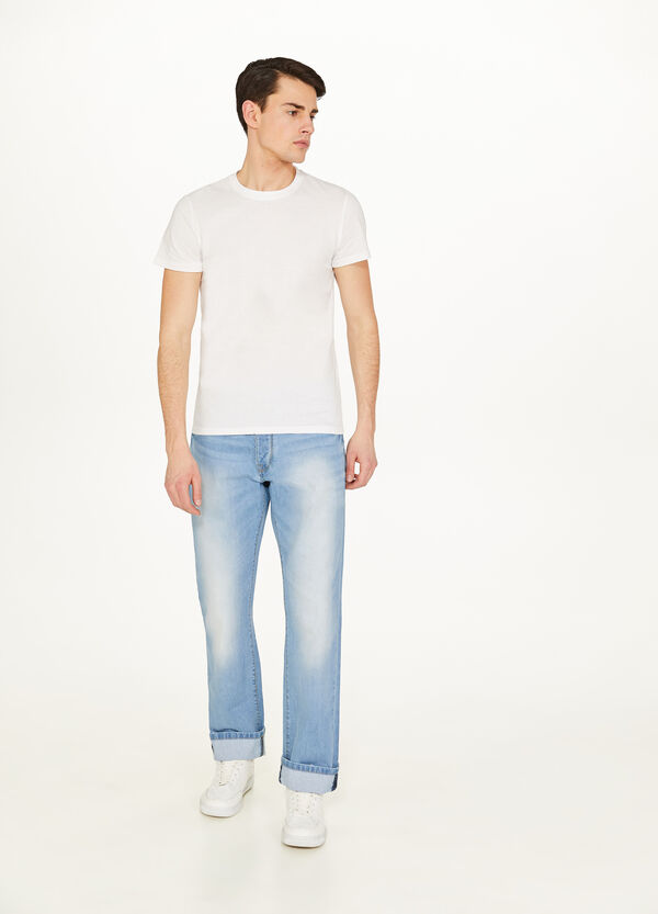 Regular-fit faded jeans