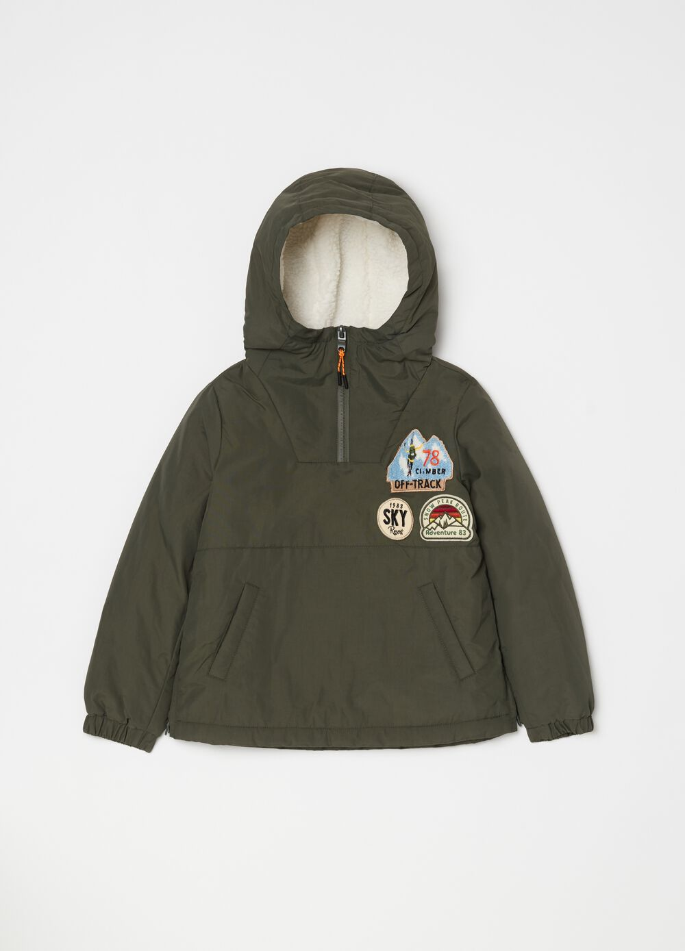 Padded anorak with hood and zip
