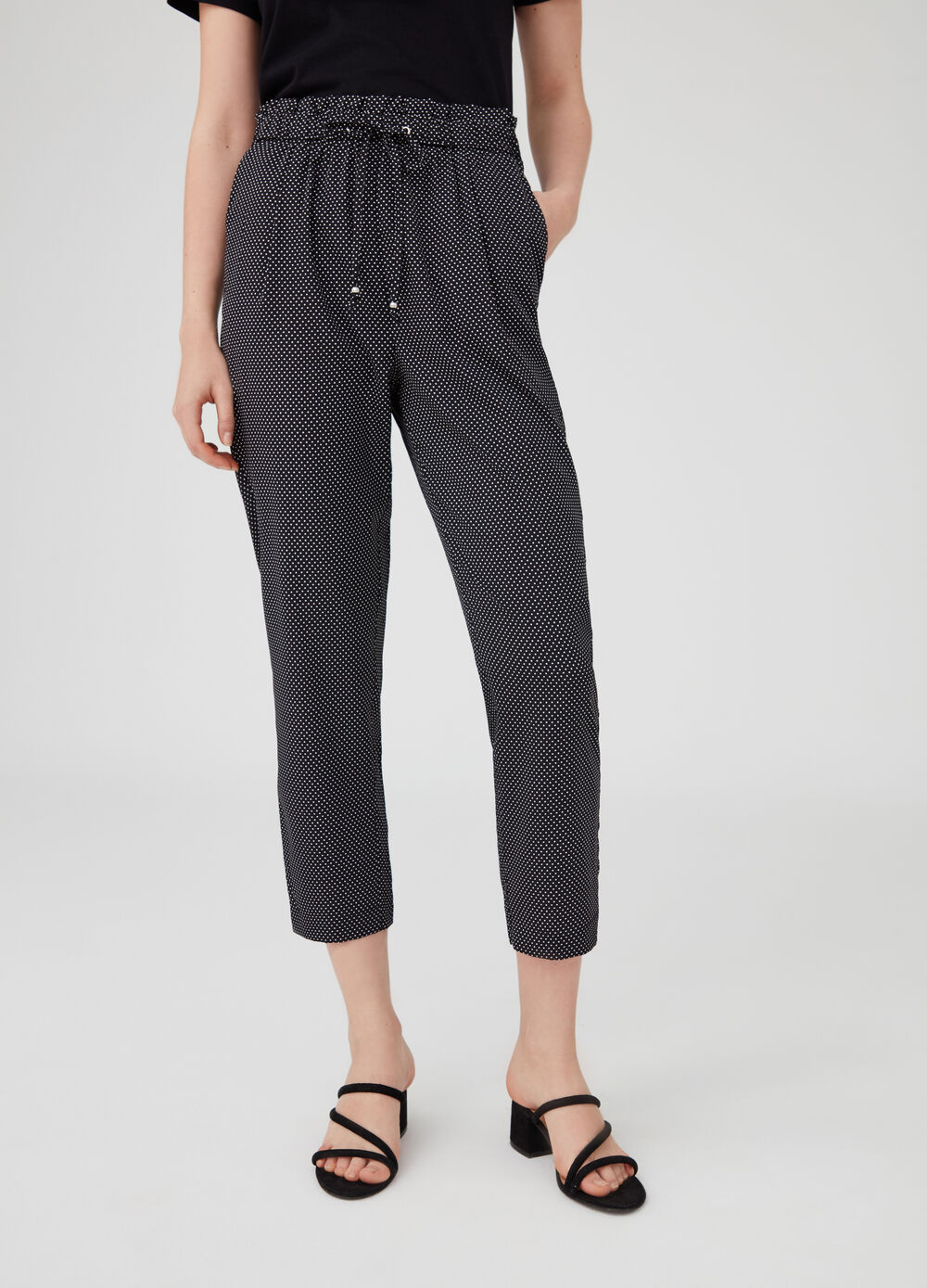 Crop jogger trousers with drawstring