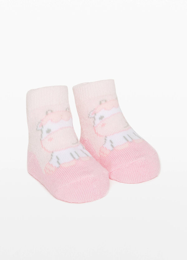 Cotton blend baby shoes with cow embroidery
