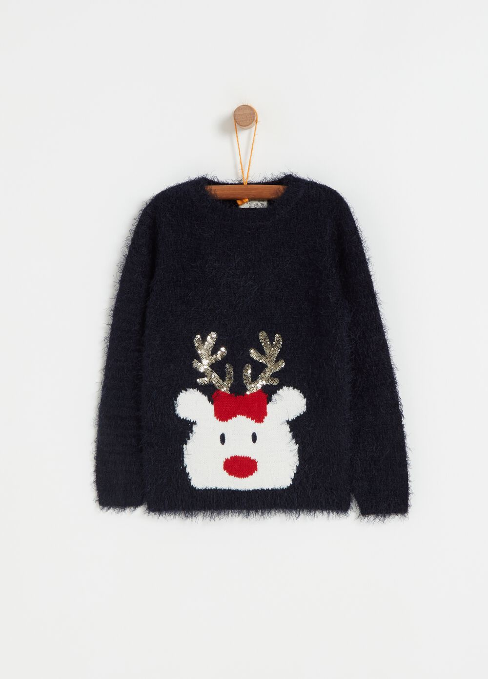 Oversized pullover with Christmas reindeer embroidery