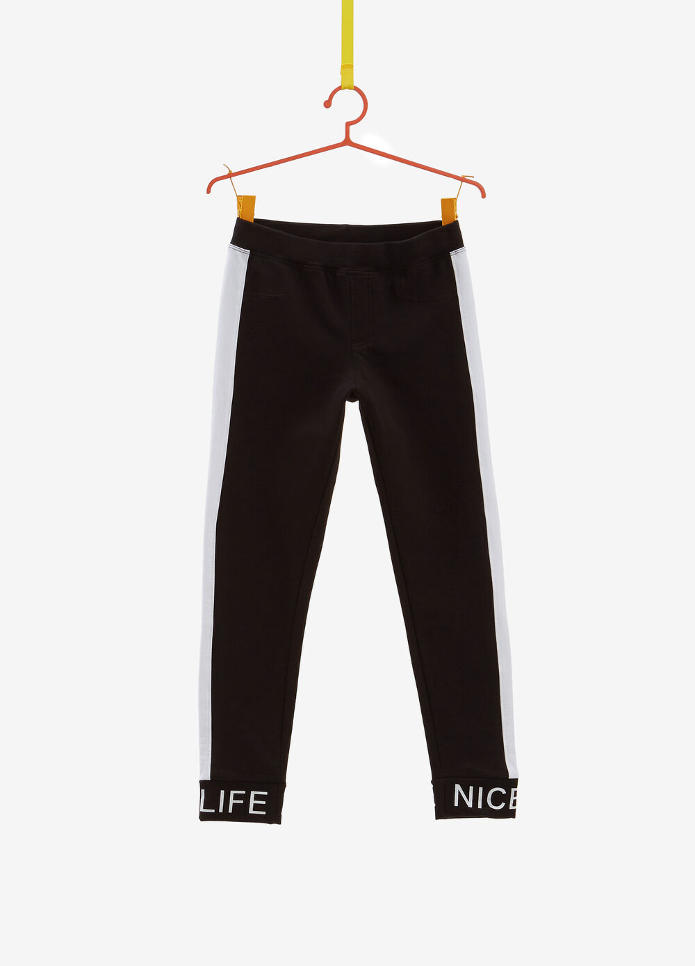 Stretch cotton jeggings with bands