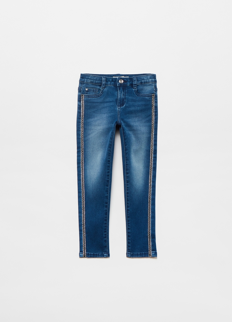 Stretch jeans with contrasting trim image number null