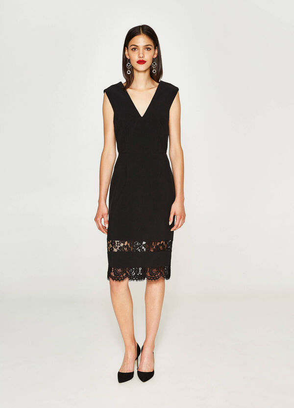 Stretch tube dress with lace | OVS