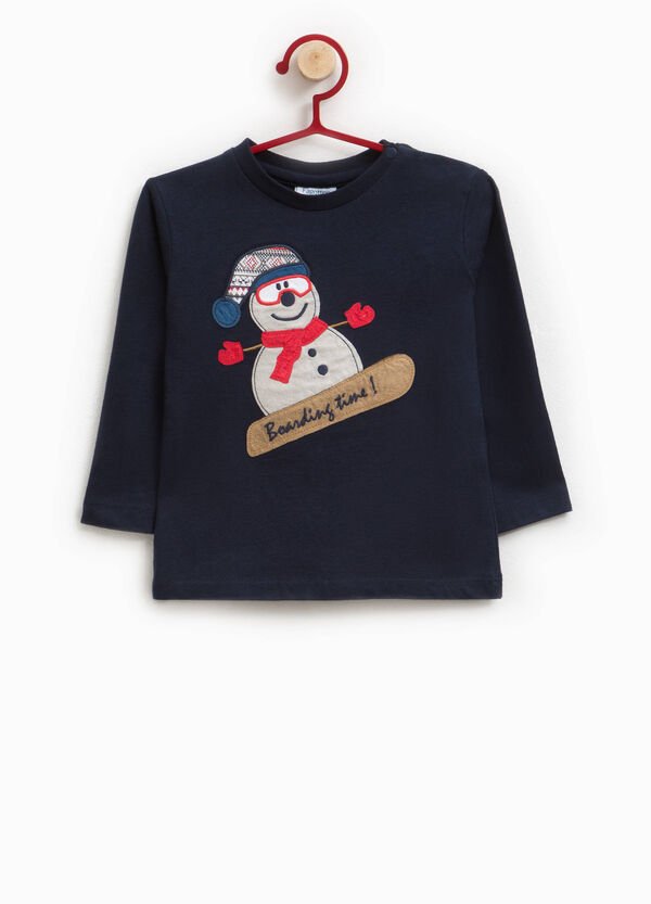 100% cotton T-shirt with Christmas patch | OVS