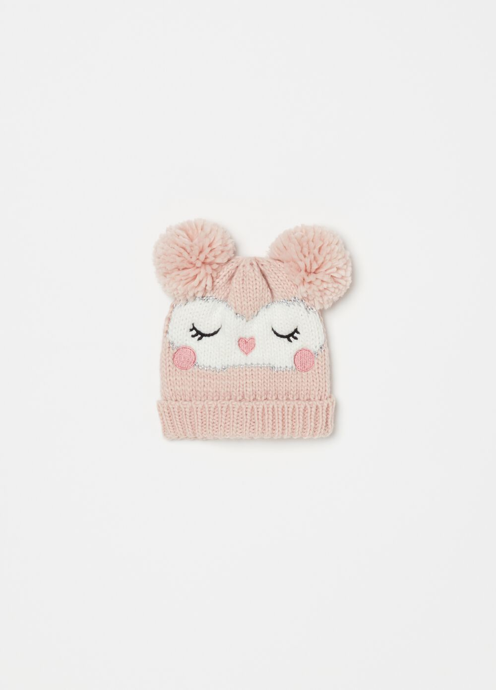 Knitted hat with embroidery and pompoms
