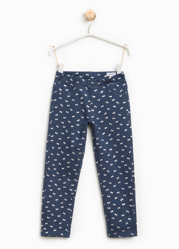 Bow patterned stretch jeggings | OVS