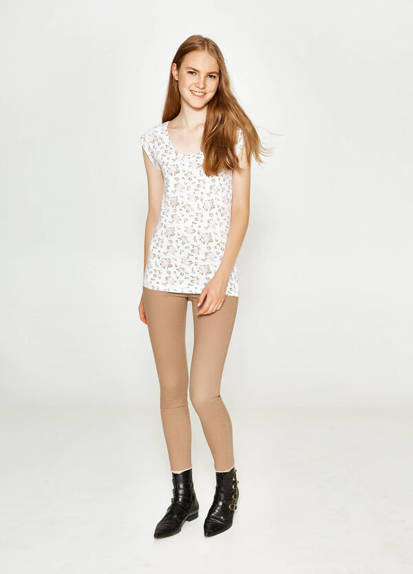 Cotton T-shirt with all-over print