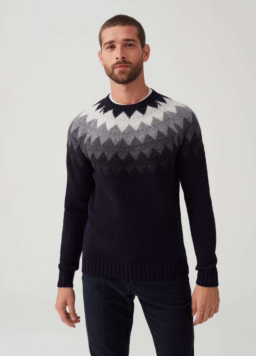 Rumford knitted pullover in wool with embroidery
