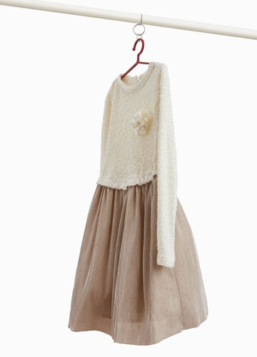 Wool and lurex blend dress with flower