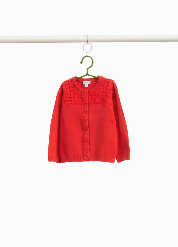 100% cotton cardigan with openwork