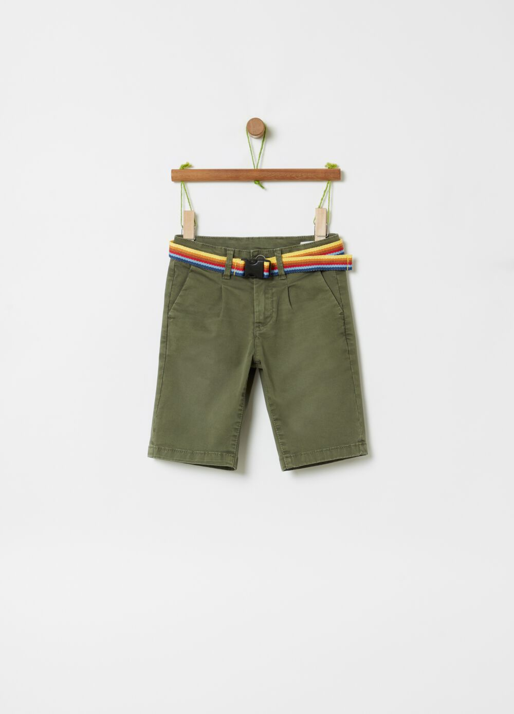 Bermuda shorts in 100% organic cotton with belt
