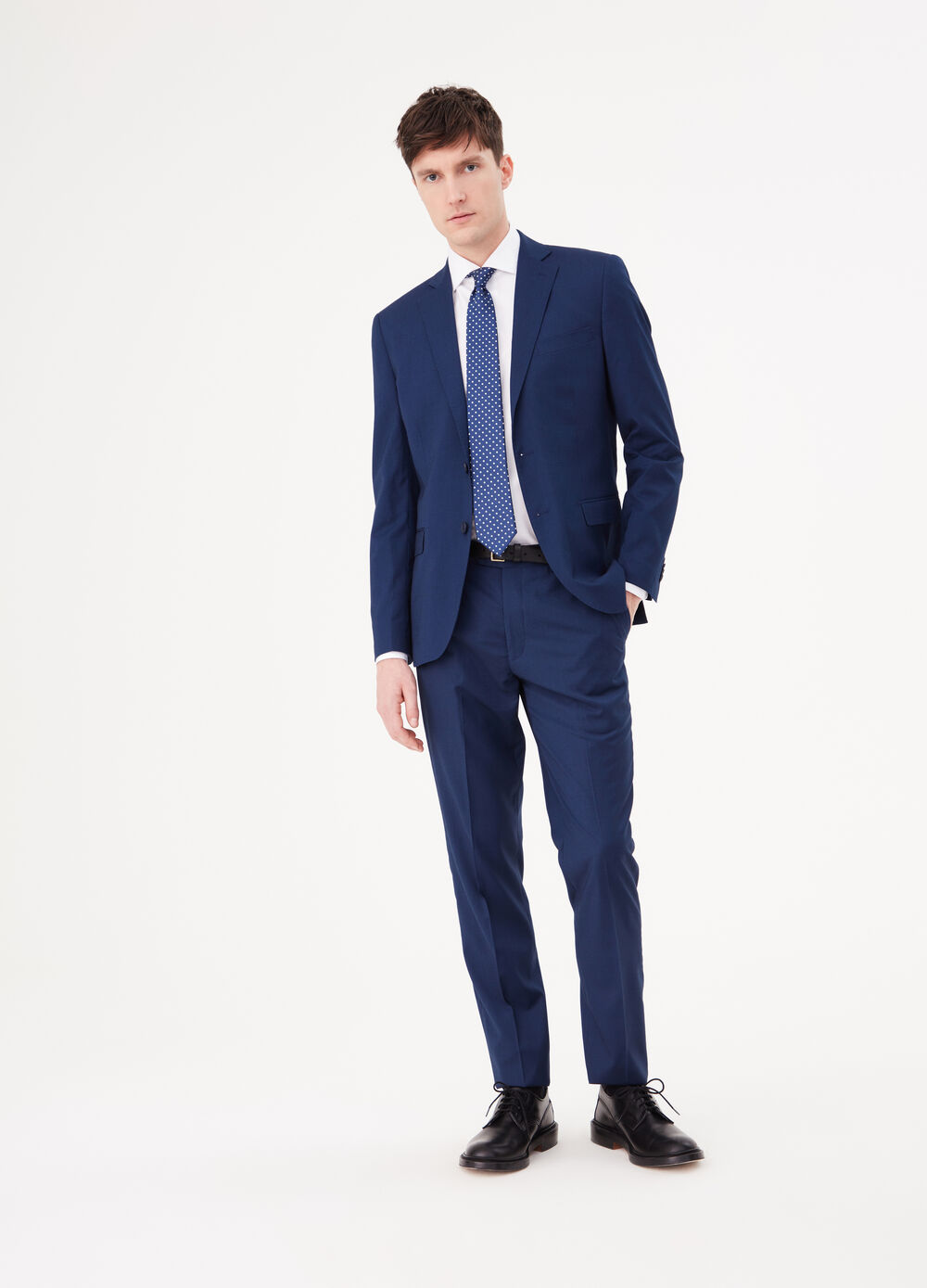 Regular-fit suit with micro check weave