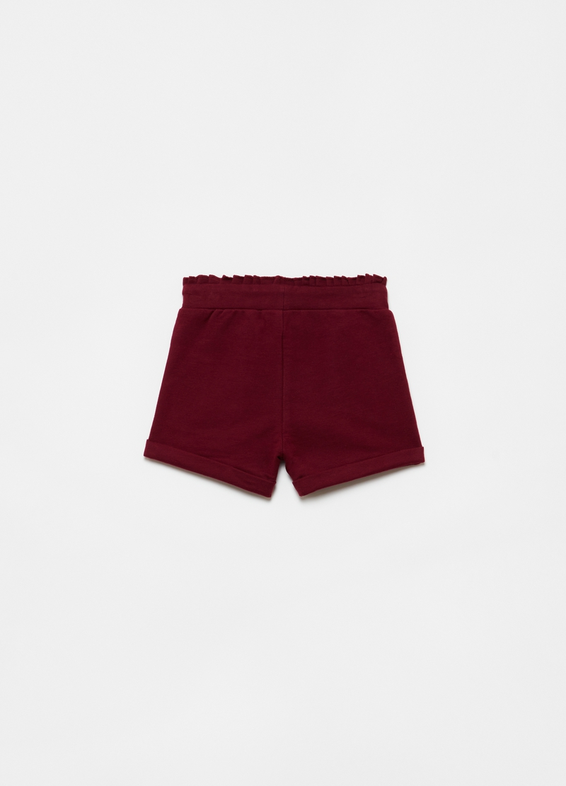 Stretch organic cotton shorts with ruches image number null