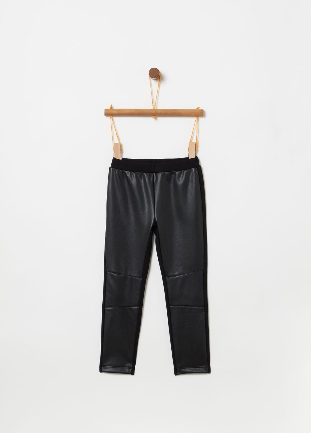 Leather-effect jeggings with elastic waist