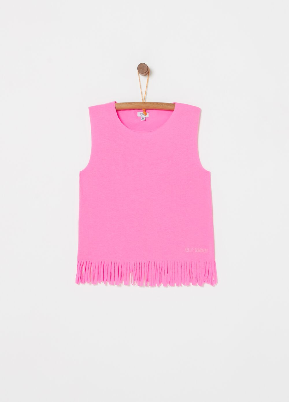 100% cotton top with fringed hem