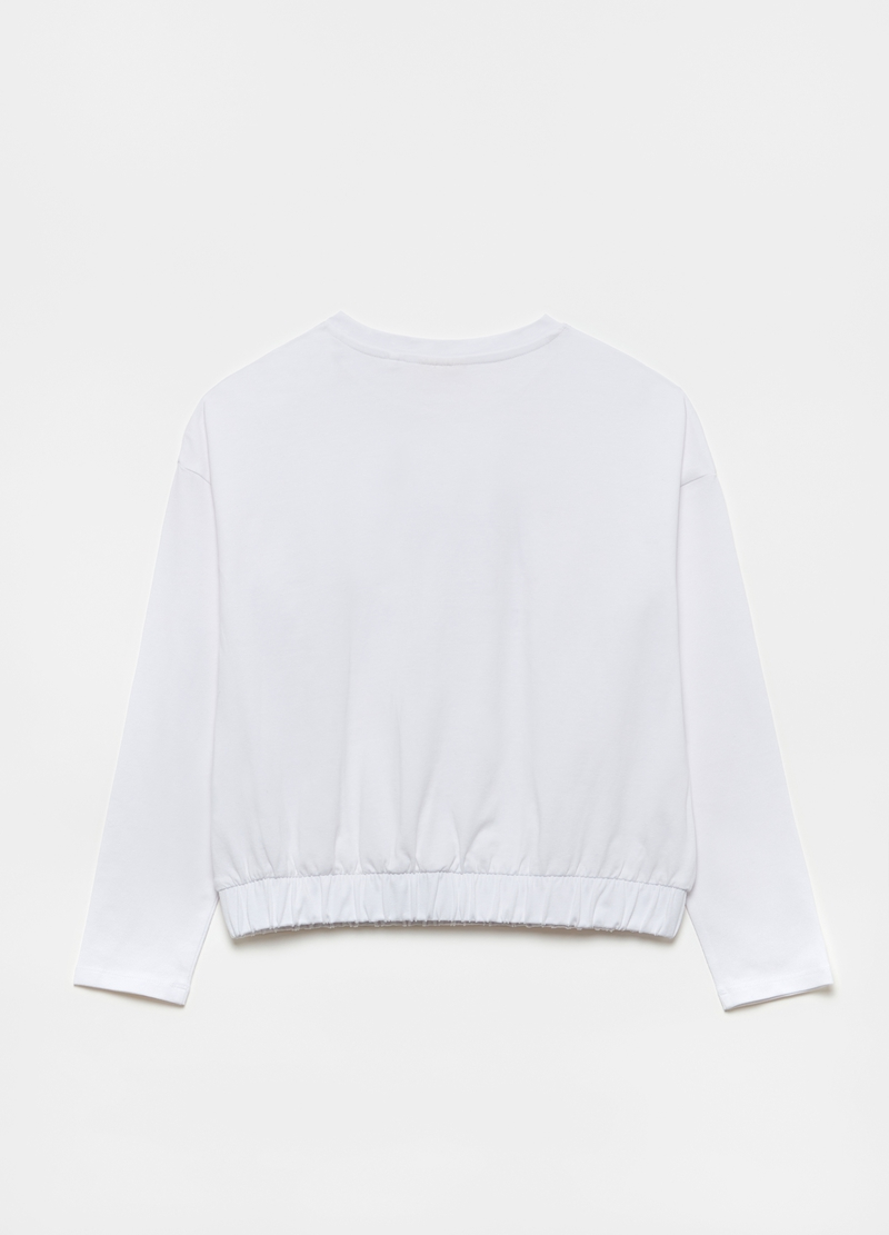 Long-sleeved T-shirt with diamantés and lettering print image number null