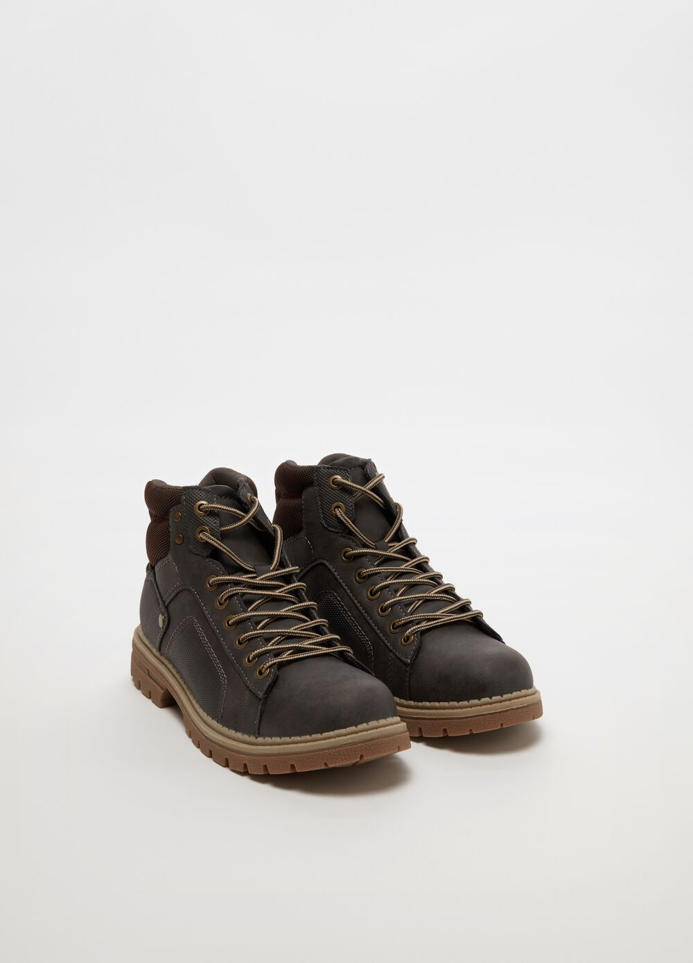 Suede-effect boots with laces