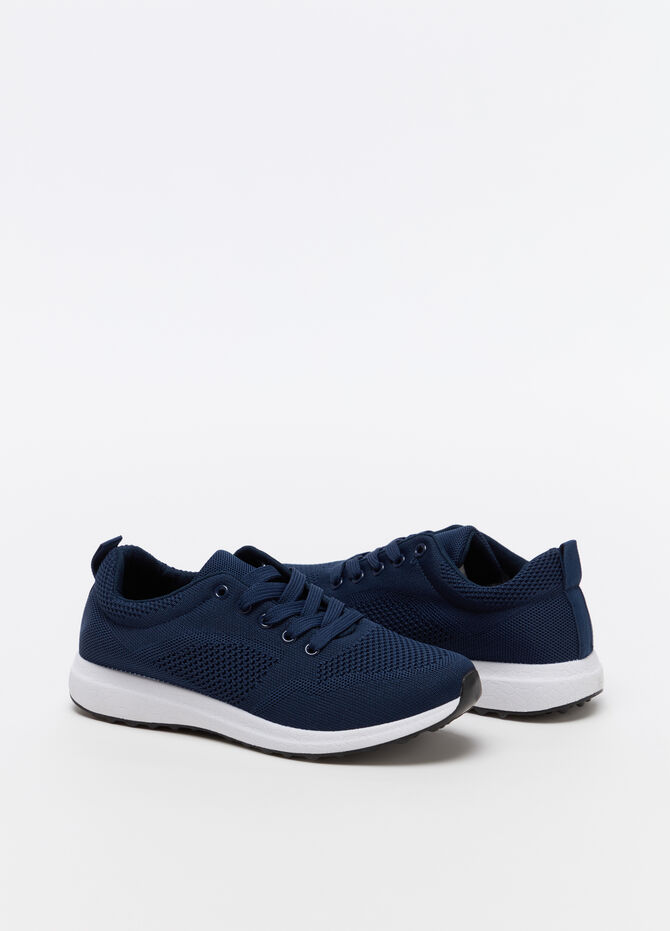 Solid colour openwork sneakers with laces