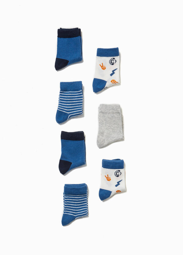 Seven-pair pack solid colour and patterned socks