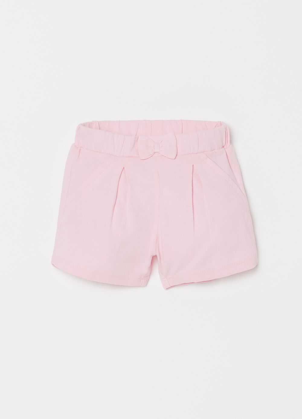 100% cotton shorts with bow and pocket
