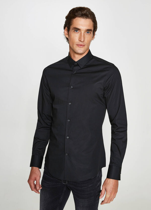 Custom-fit formal shirt in stretch cotton