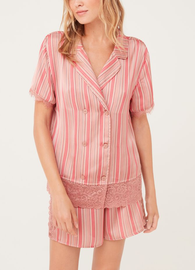 Pyjama top with lace and striped pattern