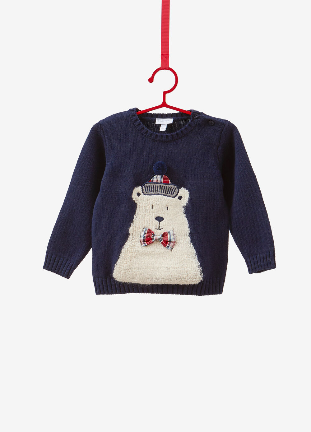 Christmas sweater with bow and teddy bear patch