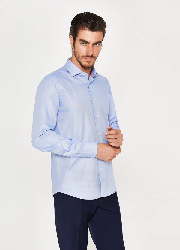 Slim-fit formal shirt with weave   OVS