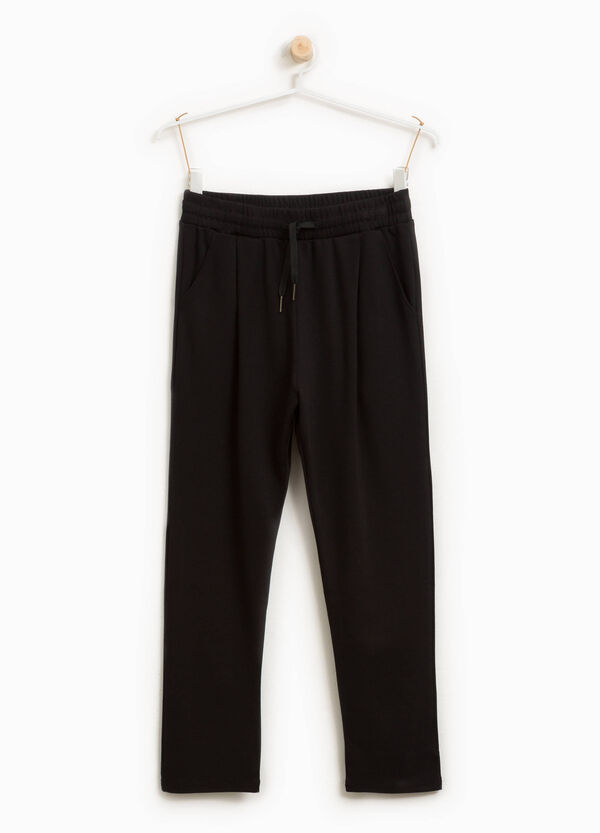 Drawstring trousers in stretch viscose blend
