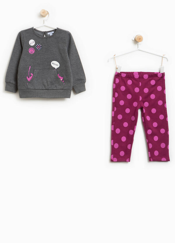 Polka dot pattern tracksuit in 100% cotton | OVS