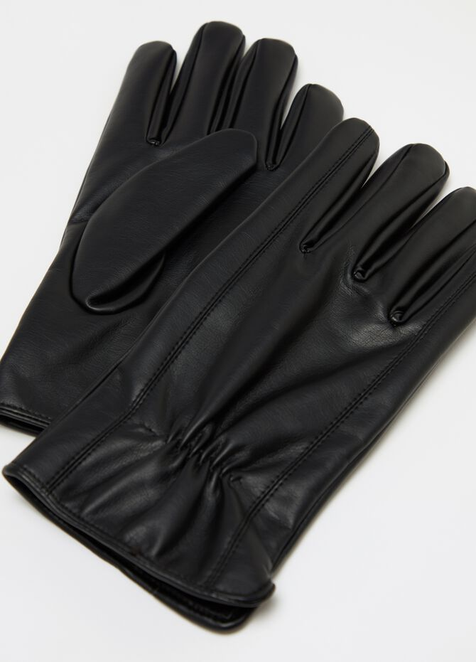 Faux leather gloves with gathering