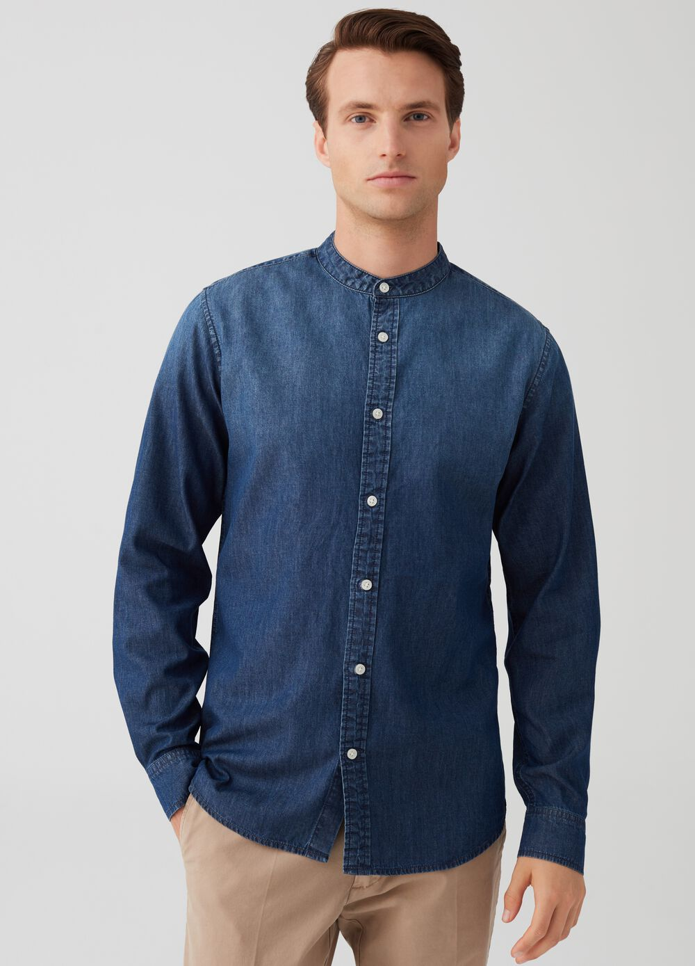 Slim-fit denim shirt with Mandarin collar