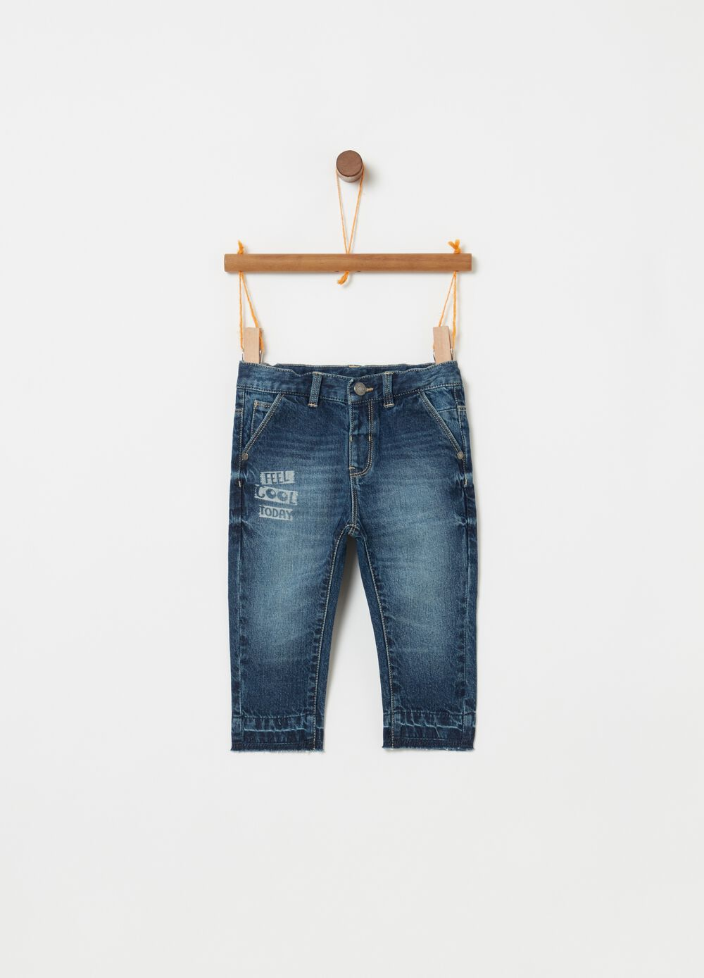Regular-fit jeans with lettering print
