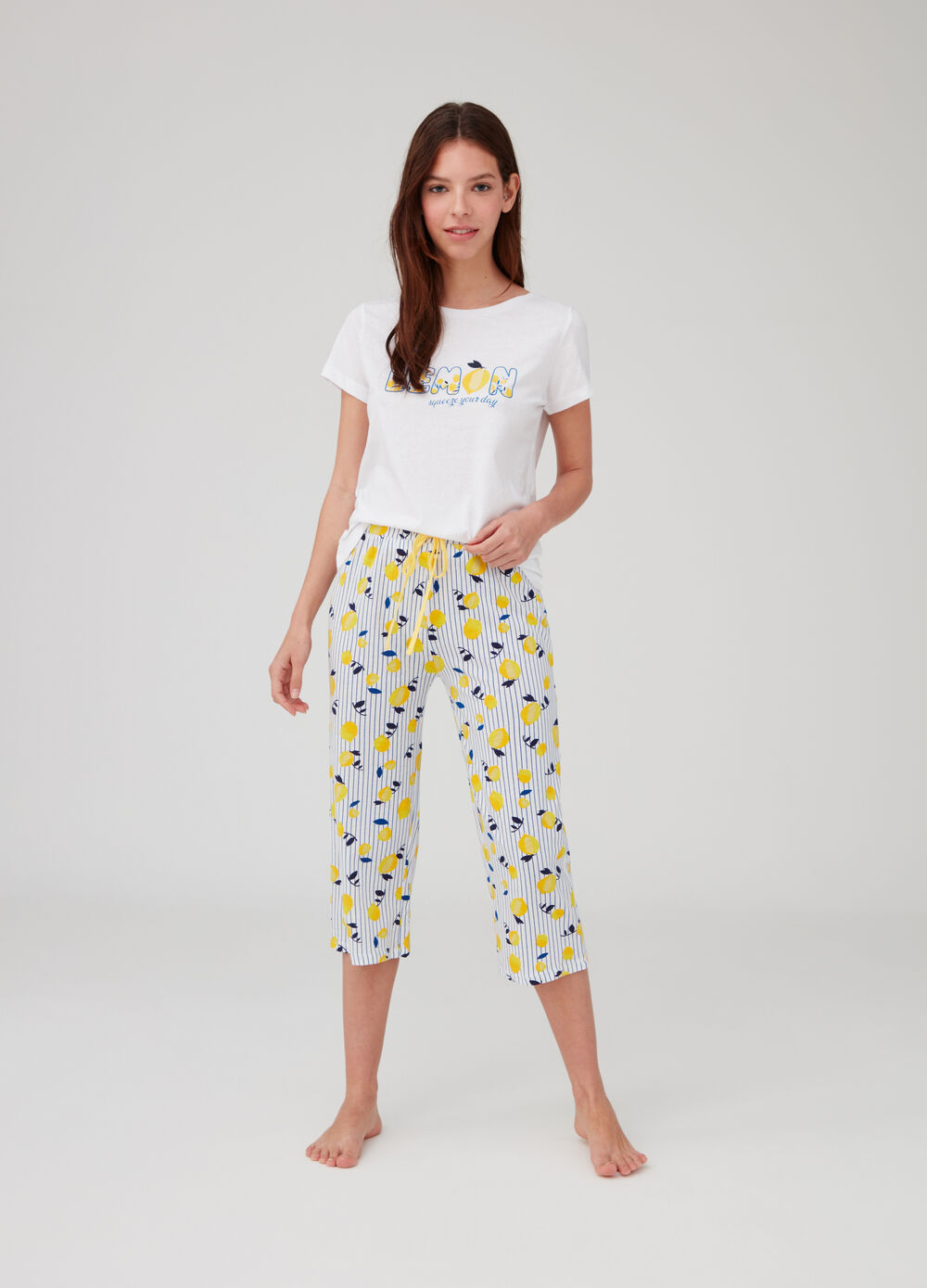 Pyjama top and trousers with lemons pattern