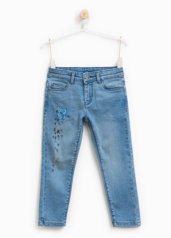 Stretch jeans with print and sequins | OVS