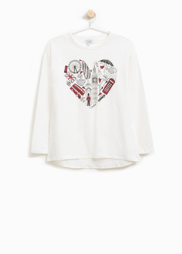 T-shirt with heart and London objects print
