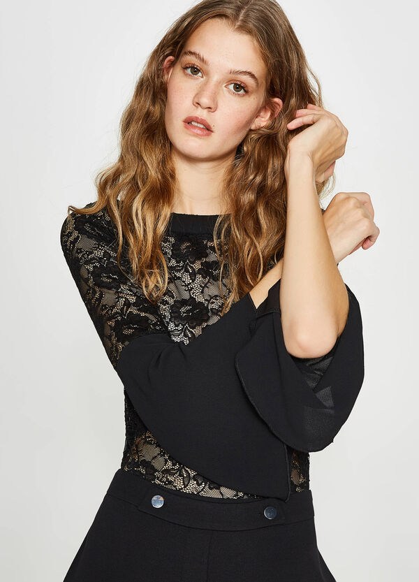 Semi-sheer stretch lace blouse | OVS