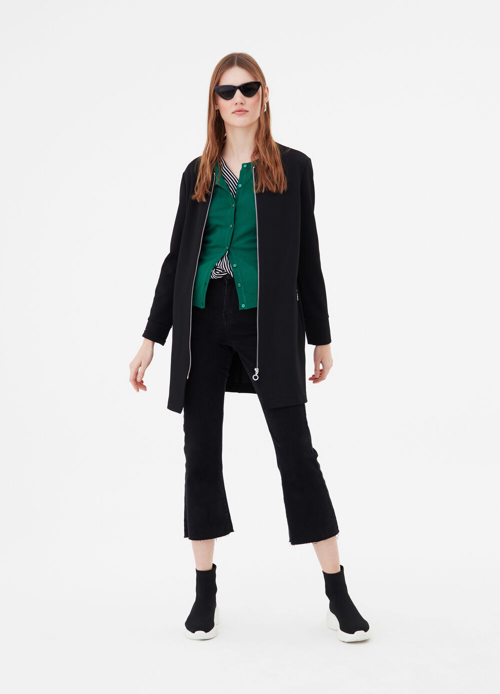 Coat in stretch piquet