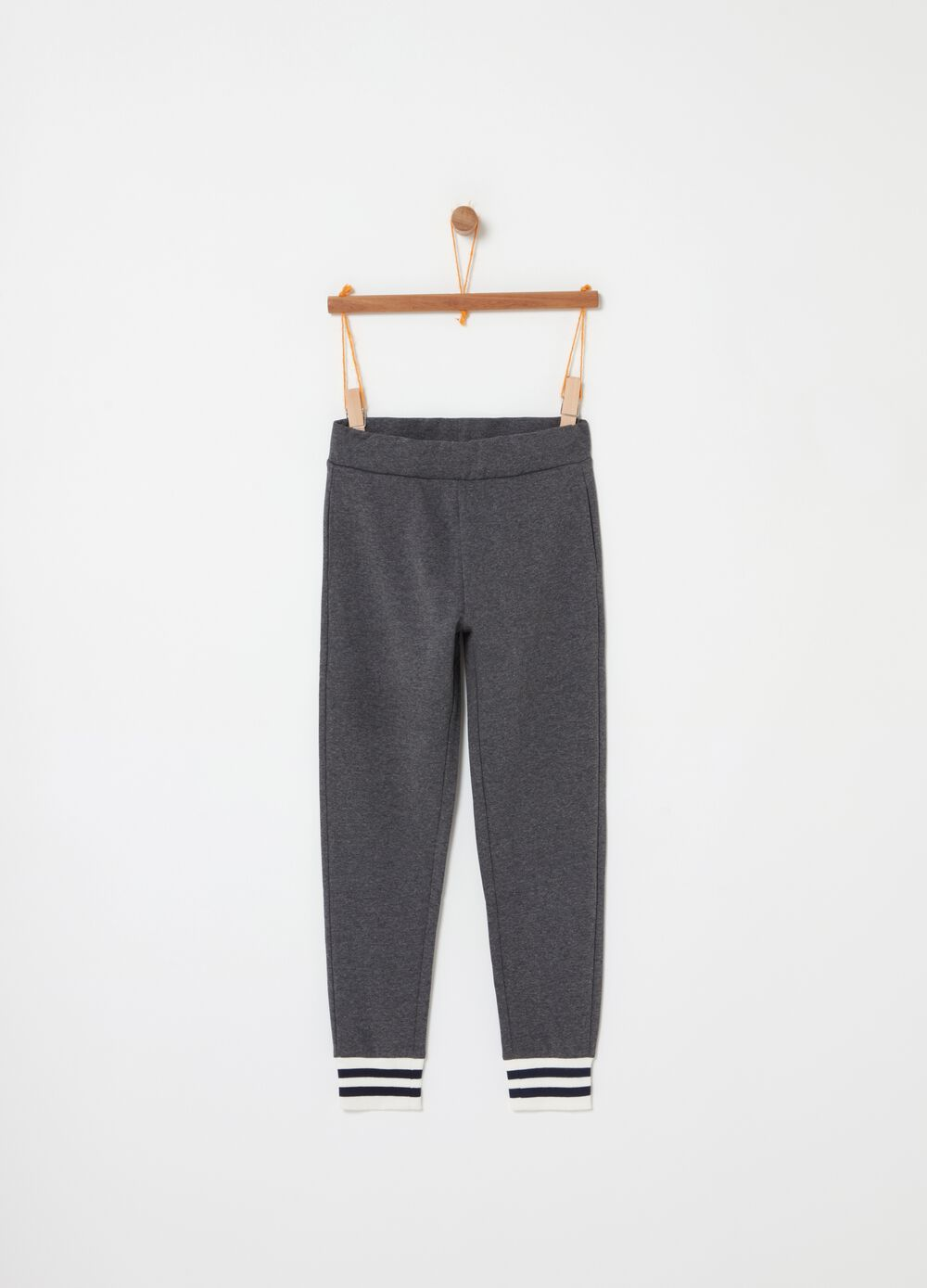 Jogger trousers with striped cuff